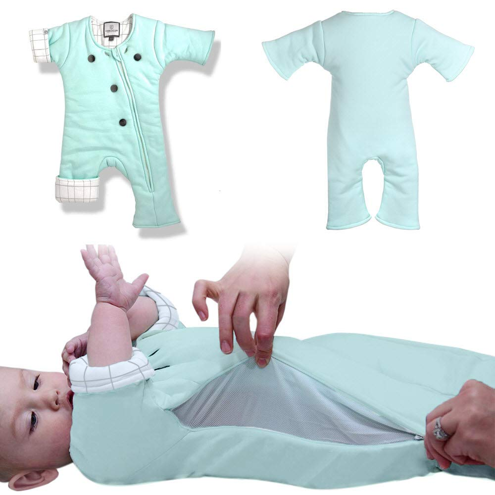 Baby Sleepsuit with Adjustable Ventilation for Transitioning Your Infant from Swaddling - Soft Sleep Suit Allows Baby to Move - Wearable Infant Swaddle Blanket for Babies 3-7 Months by CribCulture