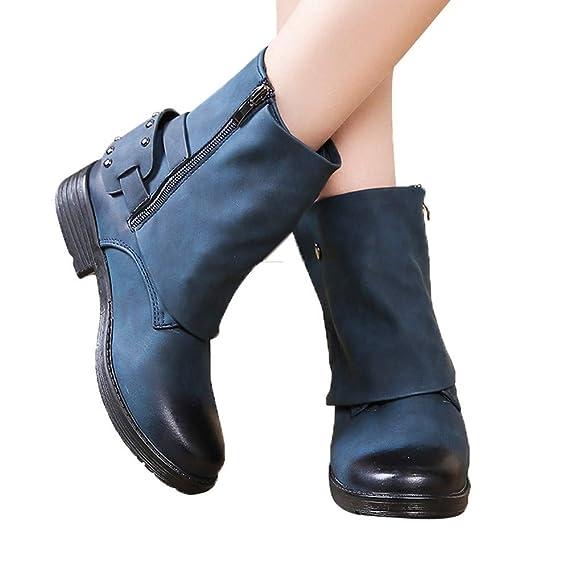 Viernes Negro JiaMeng Botines de Cuero con Punta Redonda Zipper Navidad Boots Zapatos de tacón Cuadrados de Mujer rebajada Botas de Tobillo Zapatos: ...