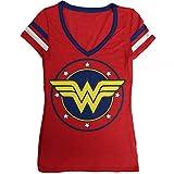 DC Comics Wonder Junior's Logo V-Neck Junior's T-Shirt (Medium)