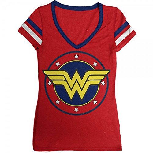 DC Comics Wonder Junior's Logo V-Neck Junior's T-Shirt (Large) (Wonder Woman T Shirts)
