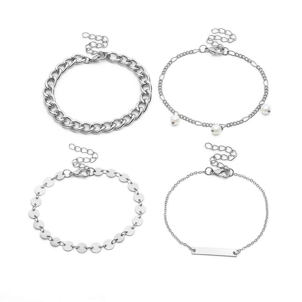 Himpokejg Women's Fashion Faux Pearl Curb Chain Bracelet Bangle Party Jewelry 4Pcs/Set-Silver