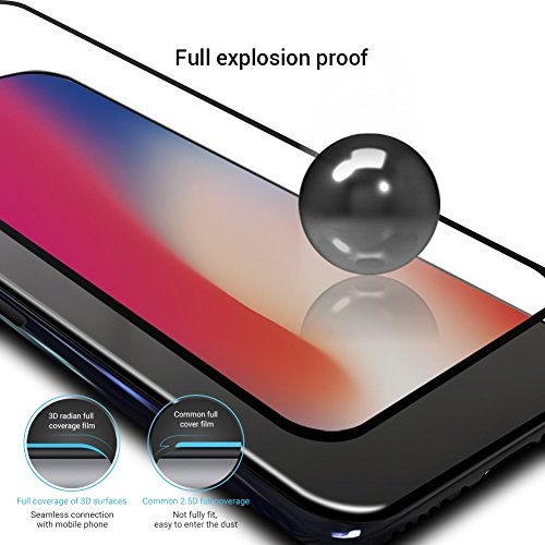 iPhone X 9H Hardness Screen Protector, Huafly Tempered 3D Glass Screen Protector for iPhone X with Anti-fingerprint High Light Penetration Hardness(2 Pack for Front and Back Screen) by Huafly (Image #4)