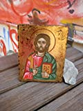 Christ Pantokrator Byzantine icon of Jesus holy iconography antique look orthodox christian art