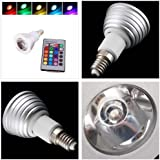 3W E14 16 Colors Changing RGB LED Light Bulb Lamp with Remote Control AC 85-240V