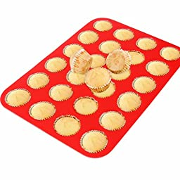 2Packs Silicone Muffin Pan, 24Cups Mini Cupcake Trays by Suntake(Red)