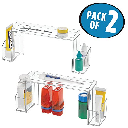 mDesign Bathroom Medicine Cabinet High-Rise Organizer for Medicines, Contact Solution, Cosmetics - Pack of 2, Clear by mDesign