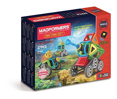 Magformers Mini Tank 27 Pieces Rainbow Colors, Educational Magnetic Geometric Shapes Tiles Building STEM Toy Set Ages 3+