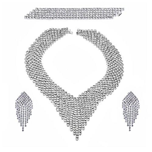 Parure femmes mondaine collier boucles d'Oreilles à clip bracelet strass argenté rhodié