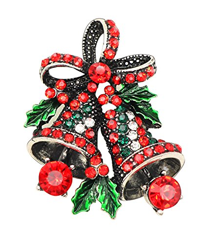 KristLand - Elegant Colorful Rhinestones Craft Corsage Hat Brooch Pin for Xmas Christmas Bell Silver Tone Red