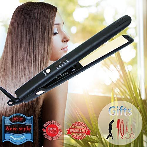 Hair Straightener Flat Iron Ceramic Flat Iron Tourmaline Ionic Professional Glider Iron Adjustable Temp Curling Iron Travel Size Types Makes Hair Shiny Silky