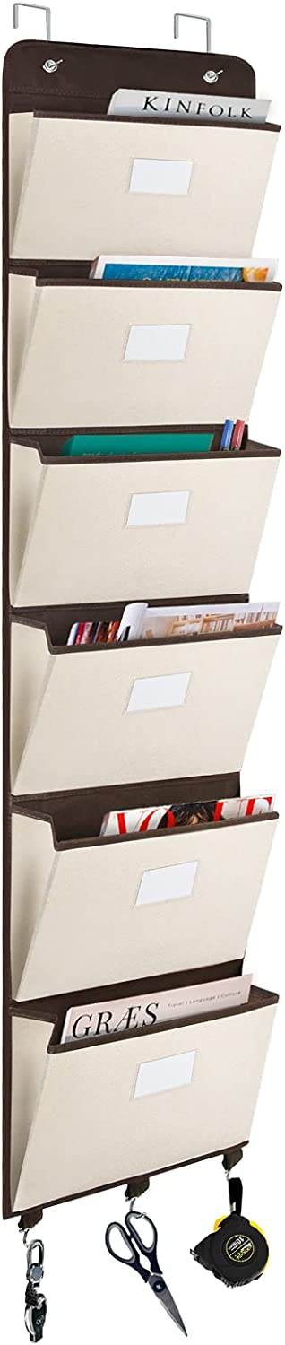coastal rose Over The Door File Organizer, 6 Pockets Mail Organizer Holder Wall Mount Hanging File Folders Storage Organizer for Office, Home, Paper, Document, Chart(Beige)