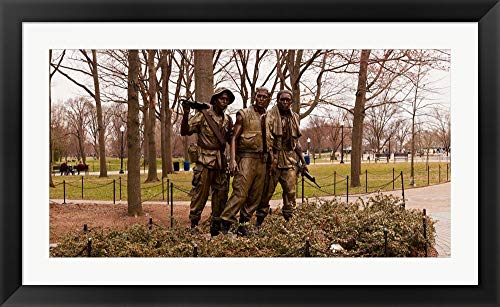 Wall Bronze Flat Clear (The Three Soldiers Bronze Statues at The Mall, Washington DC, USA by Panoramic Images Framed Art Print Wall Picture, Black Flat Frame, 42 x 26 inches)