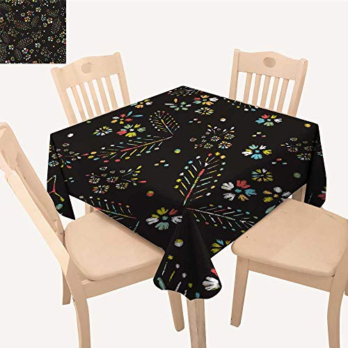 UHOO2018 Fitted Polyester Tablecloth   Stitches Roses Meadow Flowers Dragonflies Butterflies Beetles Drawn Square/Rectangle Washable for Tablecloth,50x 55inch