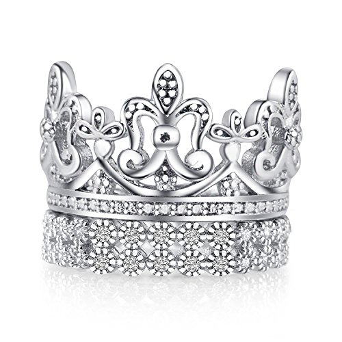 Mars Wings Women and Mens Wedding Rings 925 Sterling Silver Crown King Band Rings 2PCS