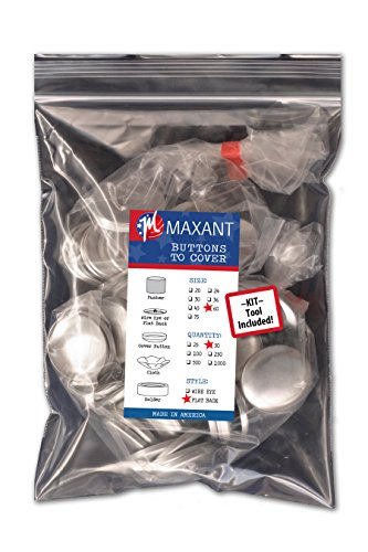 (50 Buttons to Cover - Made in USA - Self Cover Buttons with flat backs size 60 with Tool)