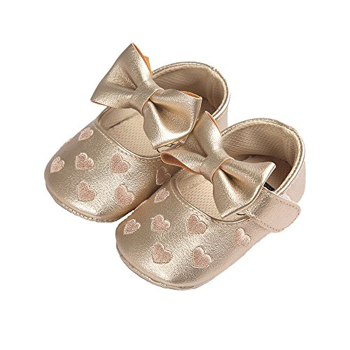 Gold Flat Heart (Baby Girl's Sweet Heart Mary Jane With Bowknot Soft Sole Anti Slip Ballet Flat Princess Shoes Golden Size L)