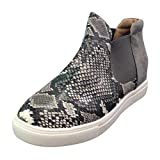 Womens Wedge Sneakers Fashion High Top Side Zipper Platform Booties Flat Shoes Dark Gray