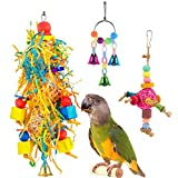 Clearance!Jiayit Bird Toy Bell Swing Bird Cage Pendant Foraging Parrots 3PC Combination Suit Interesting