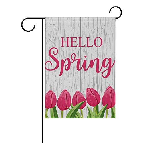 Cooper girl Hello Spring Tulip Garden Flag Yard Banner Polye
