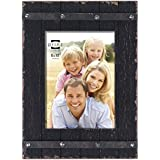 prinz cooper distressed wood plank frame with faux metal band 8 by 10 inch black