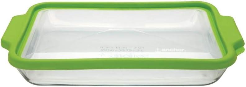Anchor Hocking 3-Quart Glass Baking Dish with Green TrueFit Lid