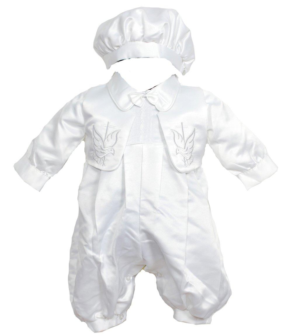 Cinda Neonati maschi Vestito del battesimo , Gilet e cappello bianco ZY2166