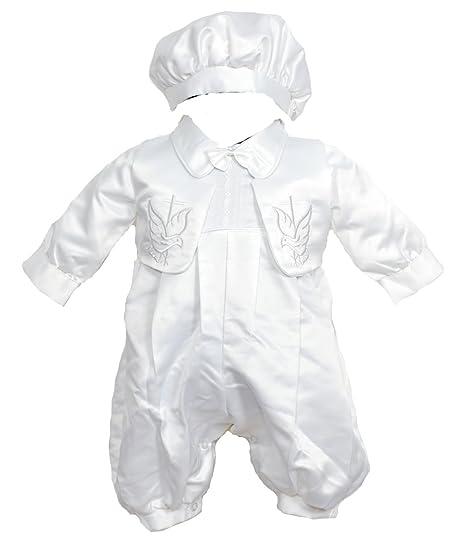 8bd0ebefc81e5 Robe de Baptême avec Bonnet et Gilet pour bébé (garcon) Blanc  Amazon.fr   Vêtements et accessoires