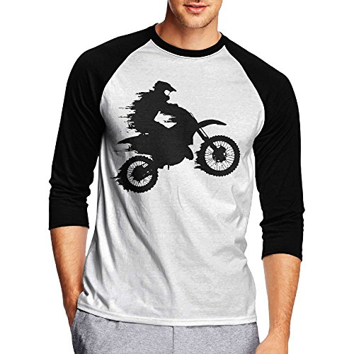 Motocross Drivers Silhouette Men's Casual Half Sleeve Printed Tee - Raglan Jersey - Swimming India Goggles