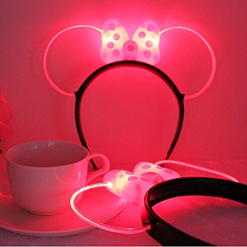 LED Minnie Mouse Ears and Headband in Pink Color with Polka Dots - Set of 3! (Minnie Mouse Led Costume)