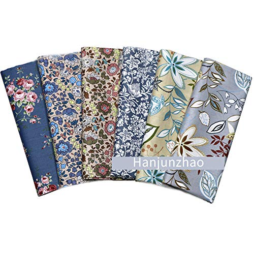 Hanjunzhao Vintage Floral Print Cotton Fat Quarters Quilting Fabric Bundles for Sewing Crafting,18