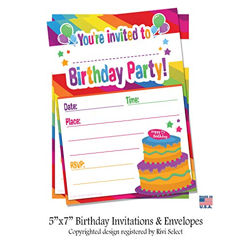 BIRTHDAY INVITATIONS with Envelopes (20 Pack) - Rainbow Kids Birthday Invite Cards for Boys and ()