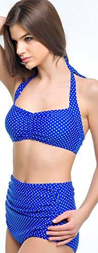 Missherry ropa de baño Traje de baño Bikini bañador acolchado Push-up para mujer Rosa Azul en verano en playa en piscina Azul
