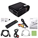 Kuman H2 HD1080P Portable HD Projector 2600 Lumens 800*480 Resolution with HDMI Cable 2 HDMI 2 USB VGA TV/DTV YPBPR Input for Home Theater Cinema Black