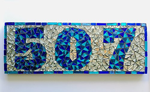 Mosaic Address Sign House Numbers or Name Sign Plaque
