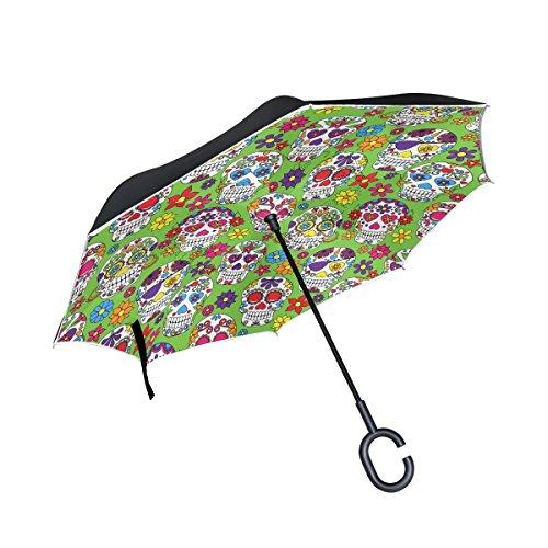 mapolo día de los muertos calavera de azúcar patrón doble capa invertida recto paraguas del revés Reversible con asa en...