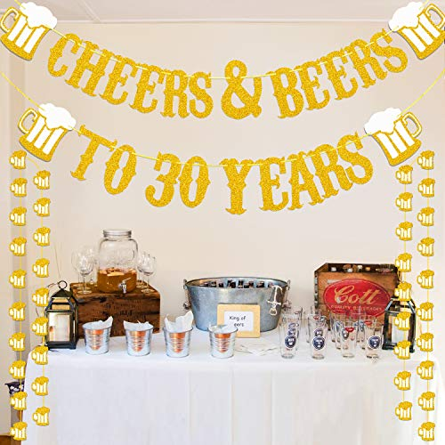 Cheers & Beers to 30 Years Real Gold Glitter Banner For 30th Birthday Wedding Anniversary Party Decorations Supplies -