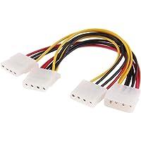 Fanclplus Ligero y Hermoso, fácil de Transportar. IDE 4-Pin 1 Cable 3 Hembra Divisor de la energía Masculina for computadora de Escritorio, Adecuado for 3.5 HDD DVD, Longitud: 20cm
