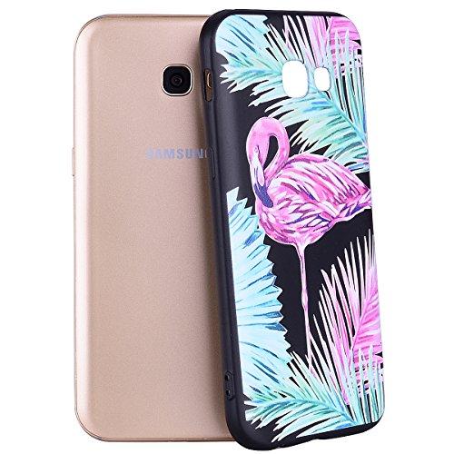 Funda Samsung Galaxy A7 2017, EUWLY Negro Silicona Fundas para Samsung Galaxy A7 2017 Goma Gel Suave TPU Cárcasa Caso con Pintura Dibujos Impresión En Relieve Patrón Bumper Case Cover Ultra Delgado Li Hojas flamenco