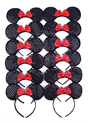 RufNTop Mickey and Minnie Mouse Sequins Ears Headband for Boys and Girls Costume Accessory for Birthday Party or Celebrations(Black Sequin set of 12)