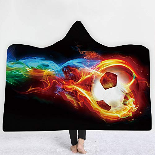Irisbell Hooded Blanket Cape Wrap Baseball Softball Soccer Soft Wearable Blanket Hooded Throw Poncho 60''H x 80''W (Soccer-1, 80''x60'')