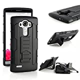 For LG G4 , Leathlux [Heavy Duty] Dual Layer Premium Belt Clip Hard Hybrid Combo Case Cover with Kickstand Holster Protective Rear Bumper for LG G4 Black