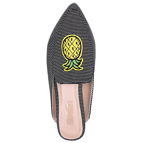 TONGPU Women Mules Slippers with Pointed Toe Flat Loafer Slip On Chic Shoes Ladies Comfy Summer Shoes Size UK3-7 Pineapple YCiUmMH2VM
