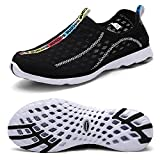 Mxson Men's Slip On Sneaker Mesh Casual Sports Walking Beach Aqua Swimming Pool Water Shoes, Black, 11 D (M) US