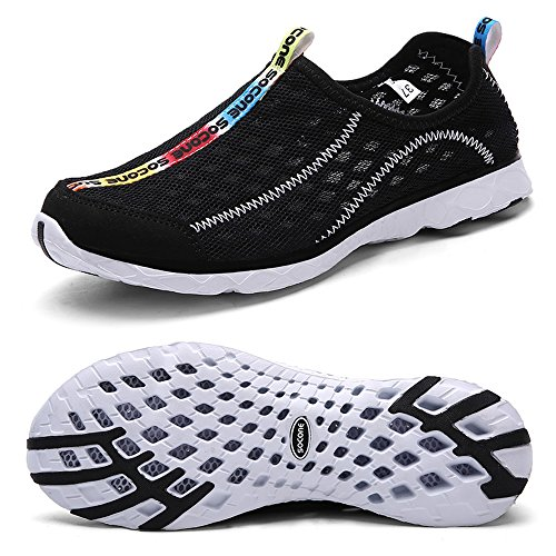 Water Feetmat Casual Breathable Women's Walking Shoes Slip On Black Mesh rva0rwHq7S