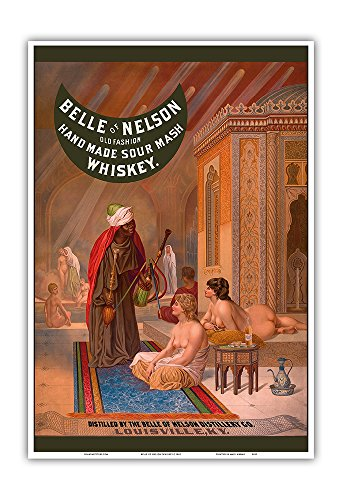 Belle of Nelson Whiskey - Old Fashion Hand Made Sour Mash - Nude Women in Turkish Harem - Vintage Advertising Poster c.1882 - Master Art Print - 13in x - Nude Ladies Vintage