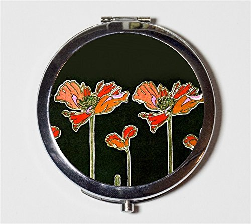 Art Nouveau Poppies Compact Mirror Art Deco Flowers Floral 1920s Make Up Pocket Mirror for Cosmetics