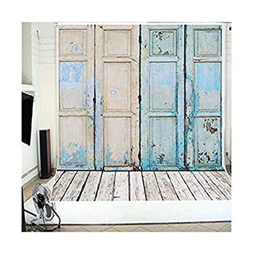 5x7ft Newest Blue Four Wood Doors & Wood Floor Vinyl Wedding Backdrop Background