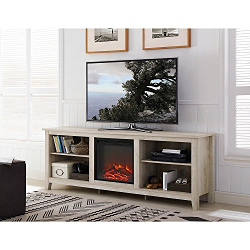 WE Furniture 70-inch Wood Media TV Stand Console with Fireplace White Oak Antique, Weathered