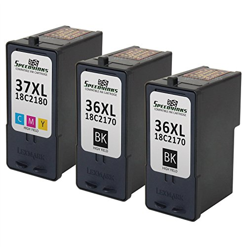 Speedy Inks - Remanufactured Lexmark 36XL 18C2170 High Yield Black & 37XL 18C2180 High Yield Color Ink Cartridges: 2 Black 1 Color