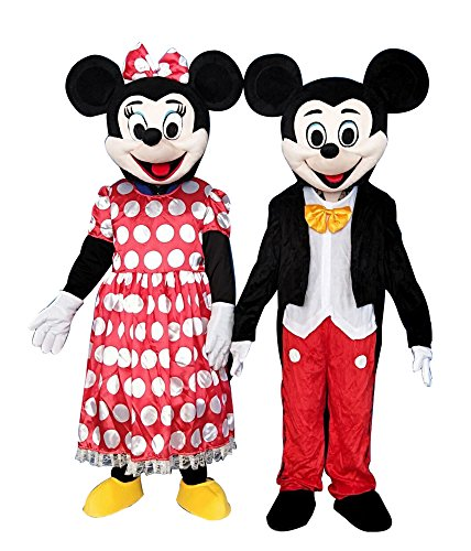 Mascot Adult Mouse Costume (Sinoocean Mickey Mouse and Minnie Mouse Adults Mascot Costumes Fancy Dress Outfits)